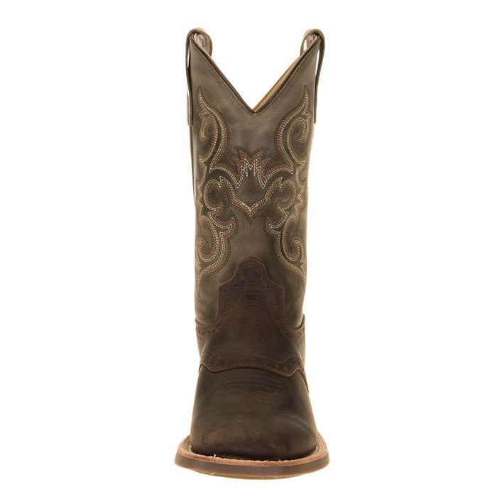 Youth Old West Green Waxy Top Brown Foot Cowboy Boots