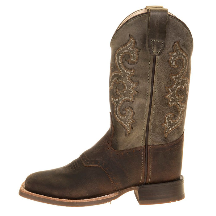 Kids Old West Green Waxy Top Brown Foot Cowboy Boots