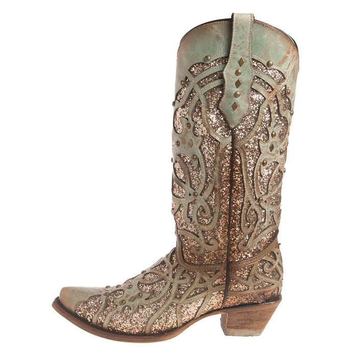 Women's Mint Glitter Inlay Snip Toe Cowgirl Boots