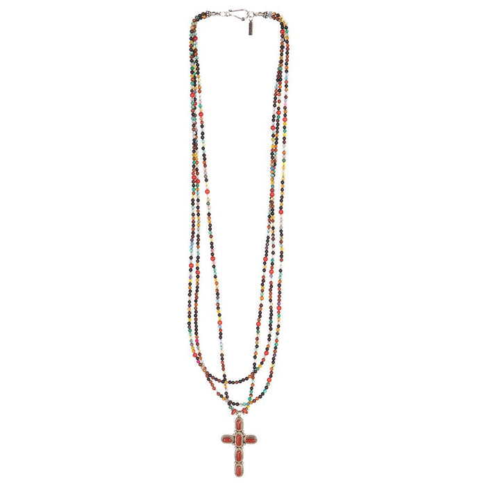 Paige Wallace Coral Cross Multi-Colored Necklace