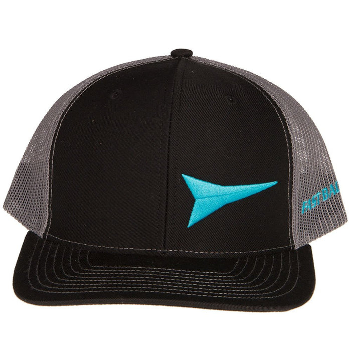 Mens Black Cap With Turquoise Logo