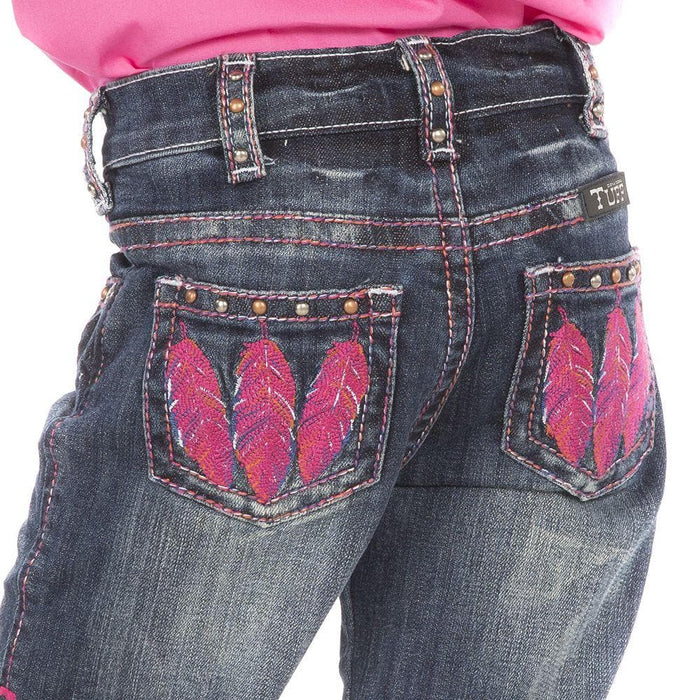 Girl's Cowgirl Tuff Fly Free Pink Feather Jeans