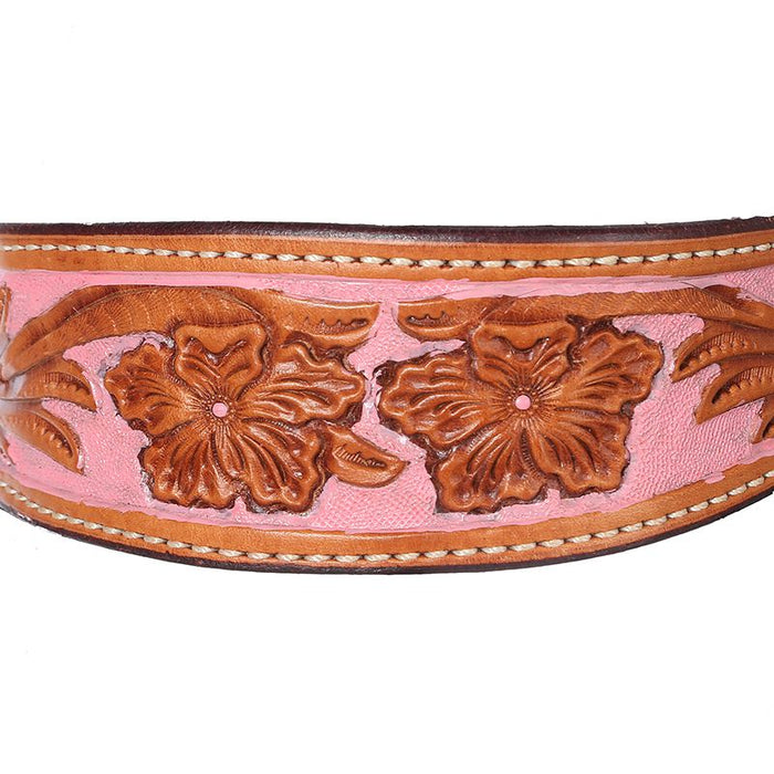 Tooled Browband Headstall w/ Painted Rose Background