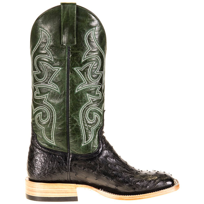 Men's Horse Power Top Hand Black Full Quill Ostrich 13in. Emerald Explosion Top