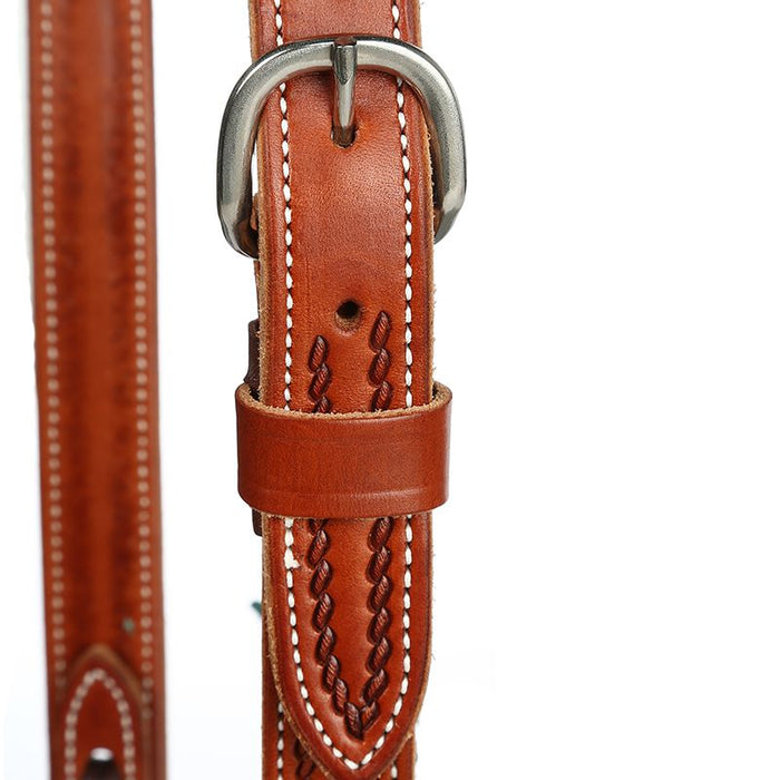 Martin Saddlery Ranahan Split Ear Chestnut Rope Border Headstall