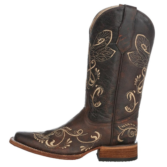 Women's Circle G Brown Crackle Dragon Fly Embroidery Cowgirl Boots