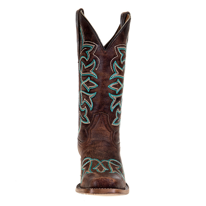 Women`s Brown Boot w/ Turq Stitching 11 Top
