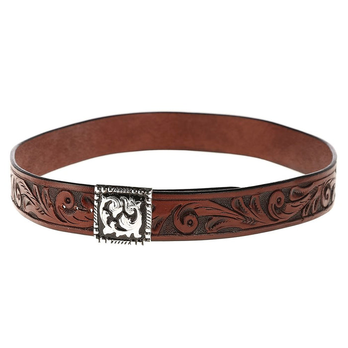 Austin Accent 1in. Brown Leather Scroll W/Buckle Hat Band