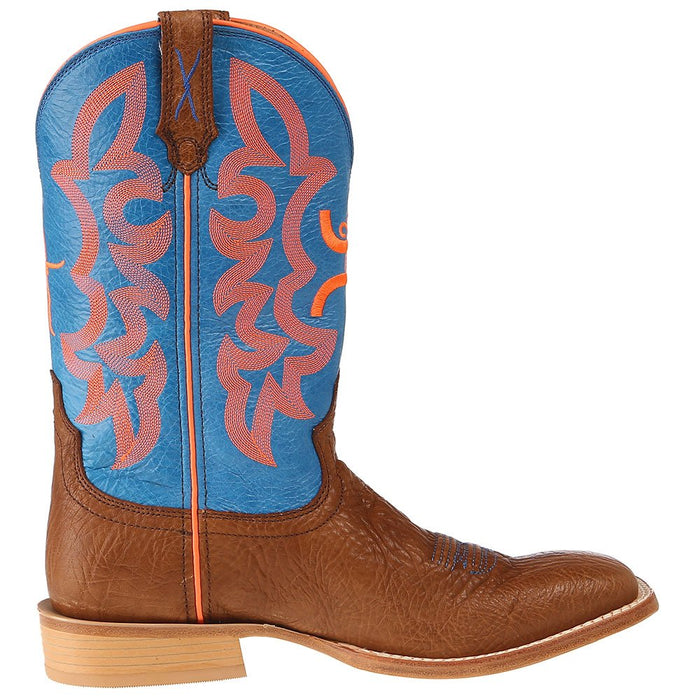 Men's Hooey by Twisted X Cognac Bullhide 12in. Neon Blue Top Cowboy Boots
