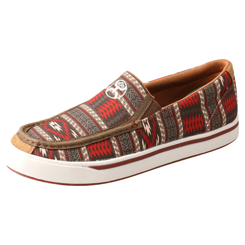 Men's Twisted X Hooey Red Aztec Slip On Loper Casual Shoes