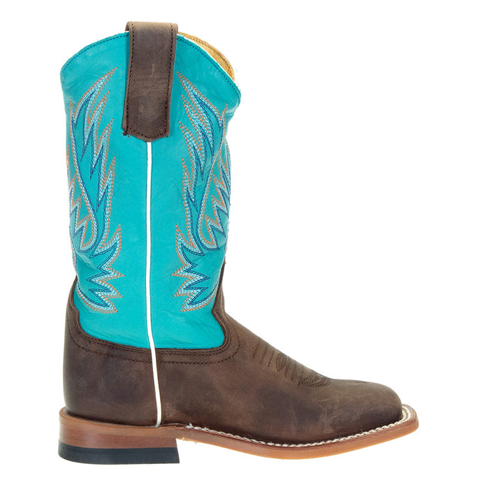 Kids Macie Bean Brown Foot Blue Top Oxbow Sole Cowgirl Boot