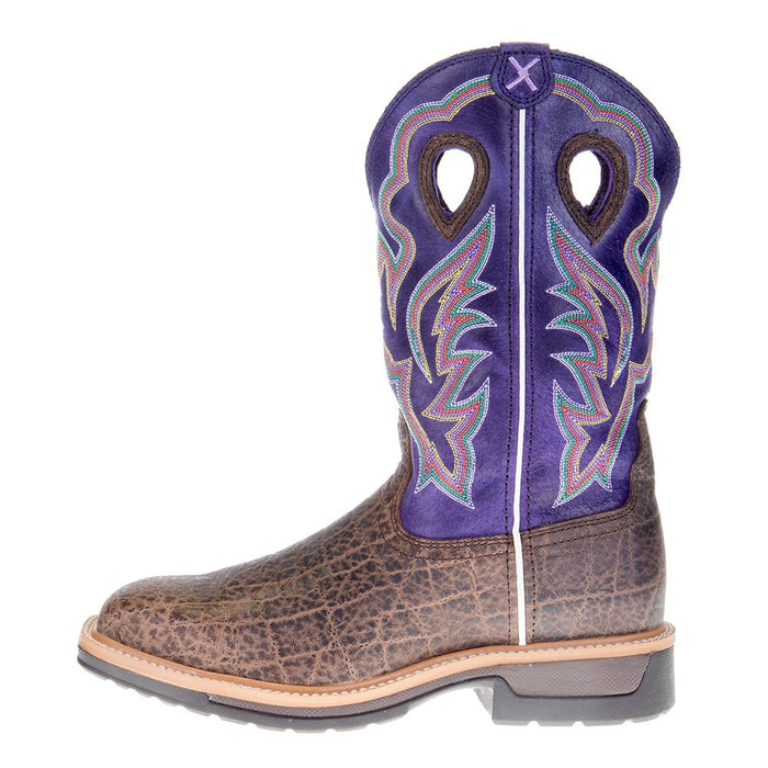 Men's Twisted X Brown Elephant Print 12in. Purple Alloy Toe Work Boots