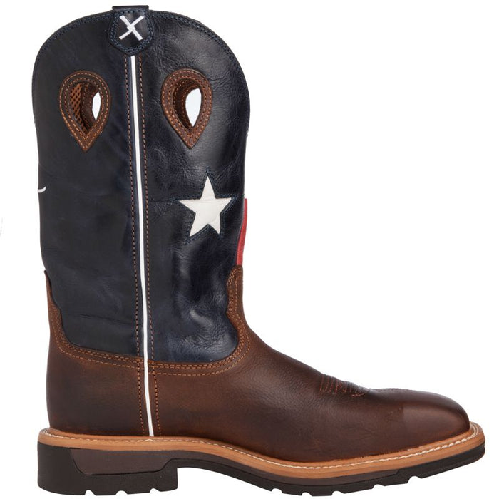 762513bbe0f Men's Twisted X Texas Flag Steel Toe Lite Weight Cowboy Work Boots