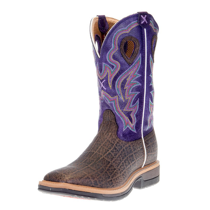 Men's Twisted X Brown Elephant Print 12in. Purple Soft Toe Work Boots