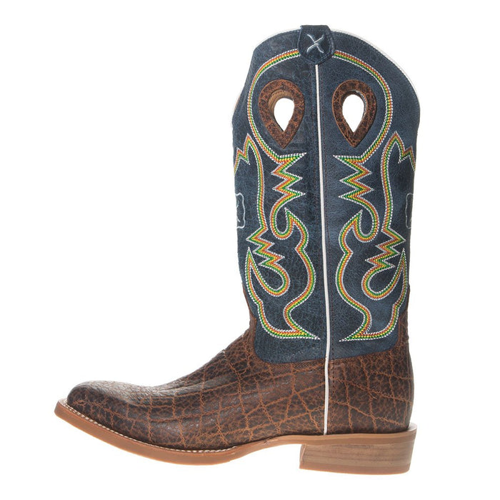 Men's Twisted X Ruff Stock Cognac Elephant Print 14in. Blue Top Square Toe Cowboys Boots