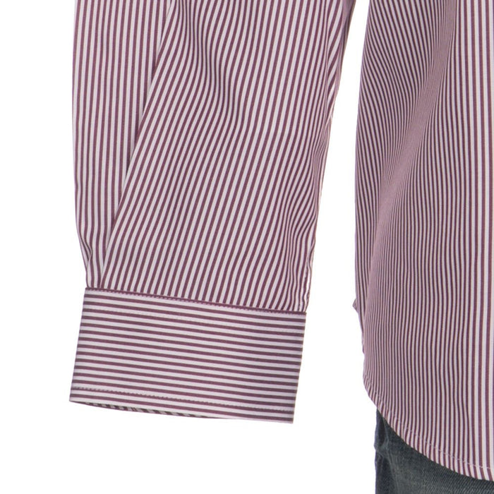 Mens Cinch Burgundy Tencel Stripe Long Sleeve Button-down Shirt