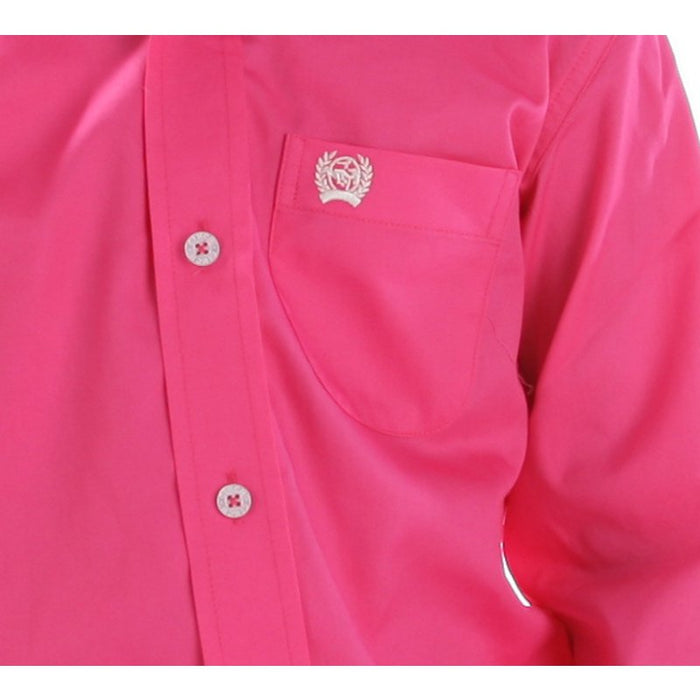 Kid's Cinch Solid Pink Button Down Shirt
