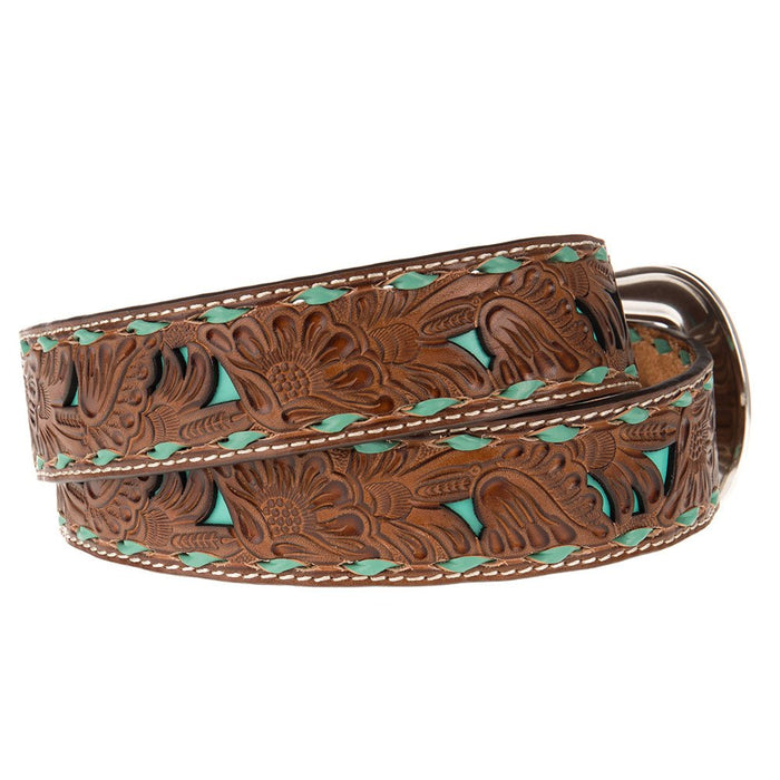 Ladies 1.5in. Belt with Turquoise Underlay and Buckstitch