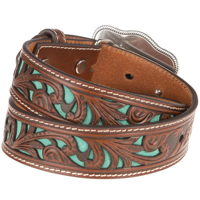 Boys Brown Belt With Turquoise Inlay Scroll