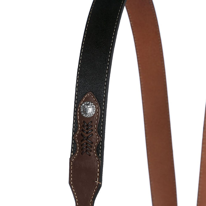 Men's M&F Western Gallus Ostrich Print Black/Tan Suspenders