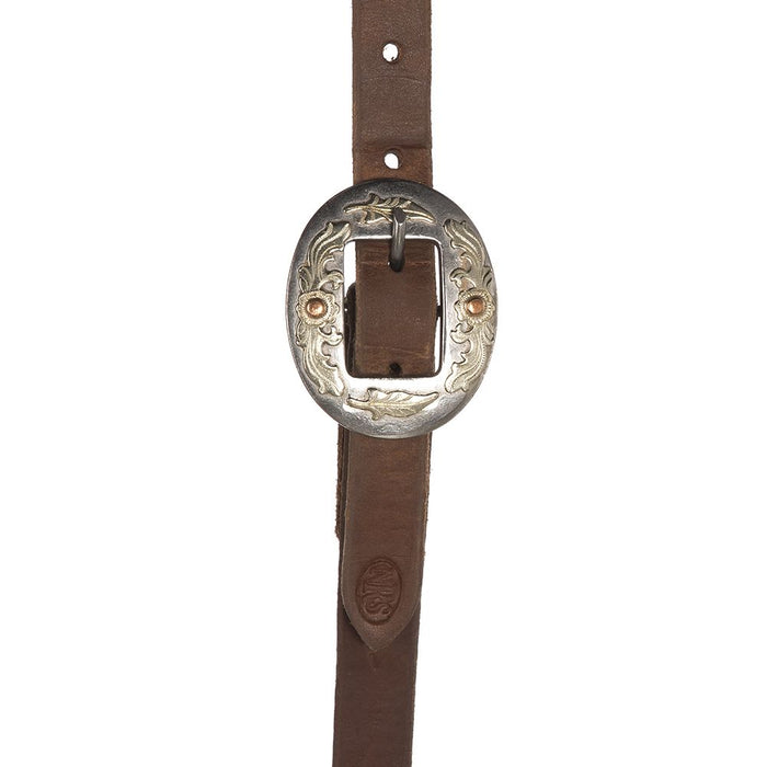 NRS Tack Buckaroo Series Split Ear Oiled with Floral Cart Buckle Headstall