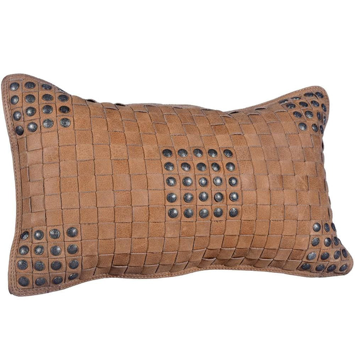 Hiend Accents Basketweave Leather Pillow