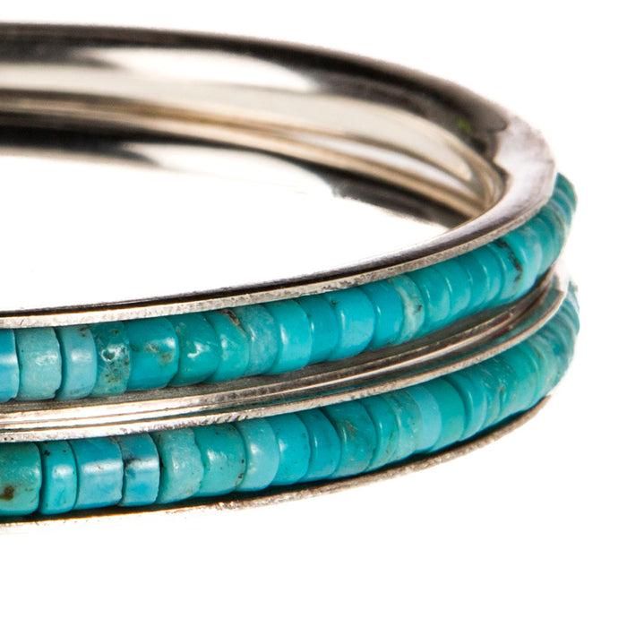 Paige Wallace Silver Bracelet with Inset Turquoise Stones