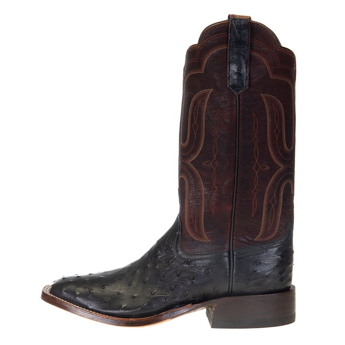 Men's Rios of Mercedes Black FQ Ostrich 13in. Brown Waxy Calf Top Boots
