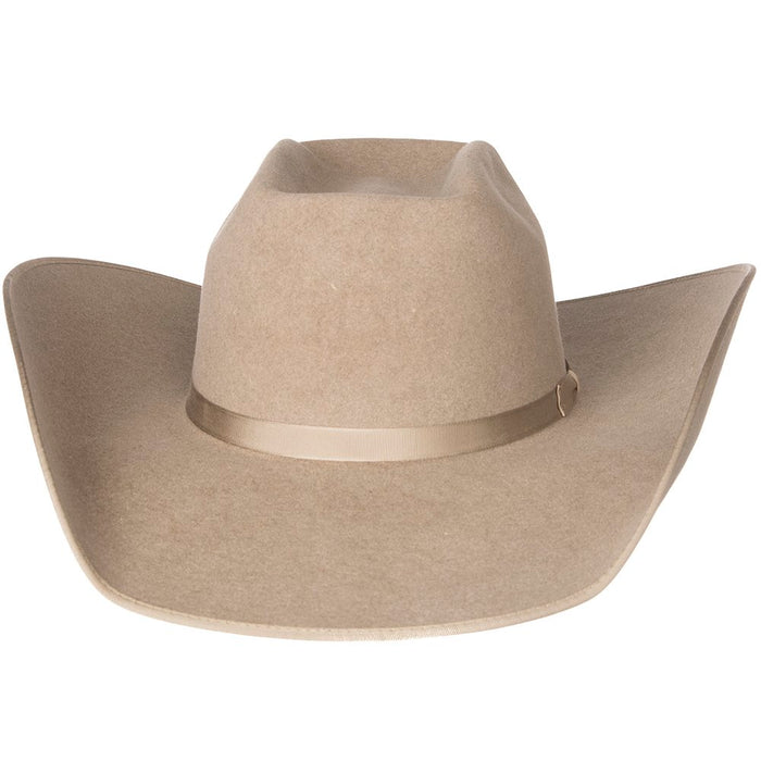 Rodeo King 7X Ash/Natural Bound Edge Open Crown 4-1/2in. Brim Natural Band Felt Cowboy Hat