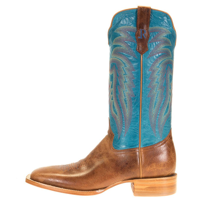 Men`s Palomino Tan Cowhide 13` Blue Luster Top Square Toe