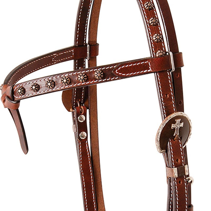 Cashel Tiefront Headstall with Antique Dots