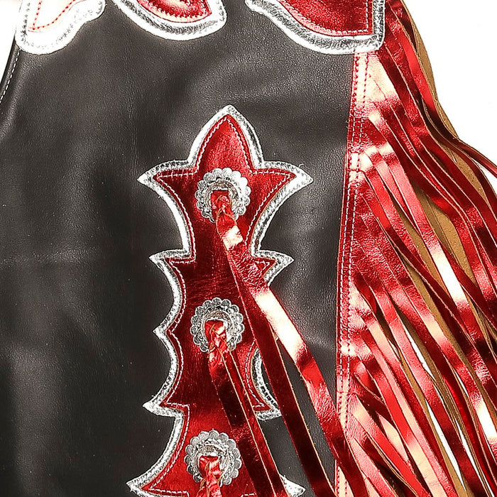 Pro Rodeo Chap w/Black/Red Metallic