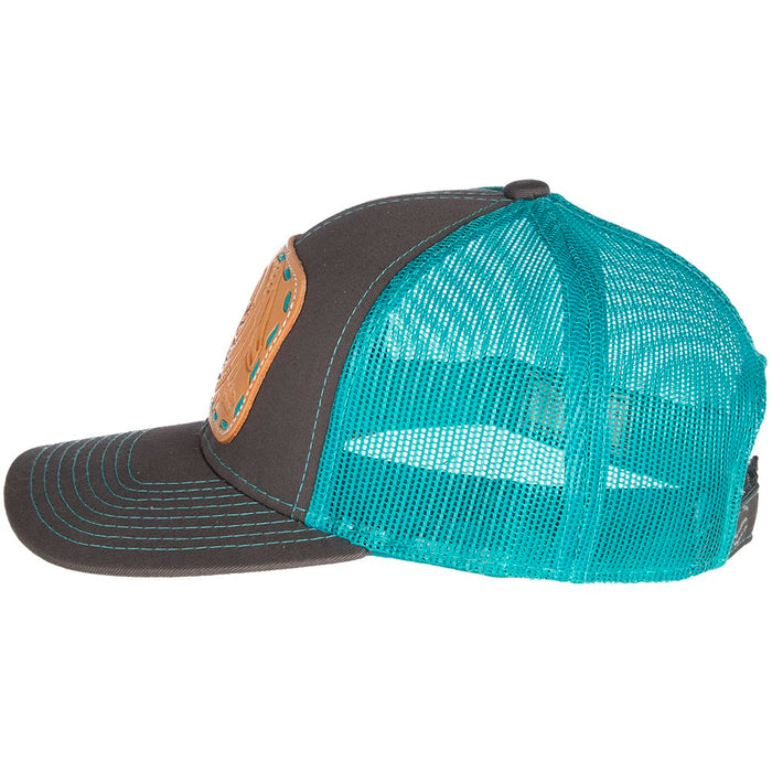 Women's McIntire Saddlery Teal Cap w/Turquoise Lace Natural Patch