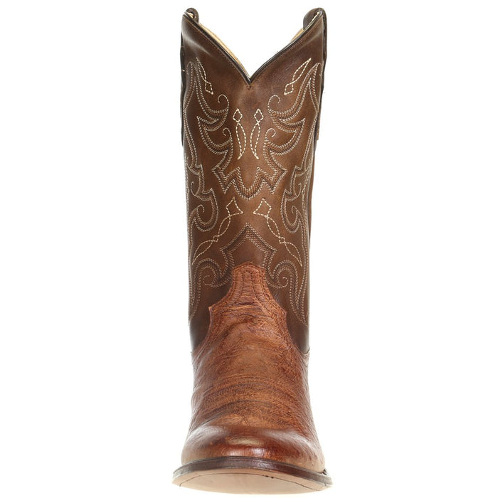 Men's Tony Lama Patron Saddle Smooth Ostrich 13in. Walnut Tundra Top Cowboy Boots