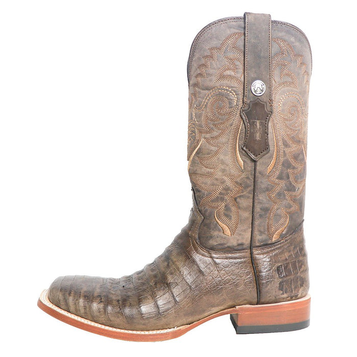 Men`s Tanner Mark Brown Pull Up Caiman Belly 13in. Brown Top Square Toe Cowboy Boots