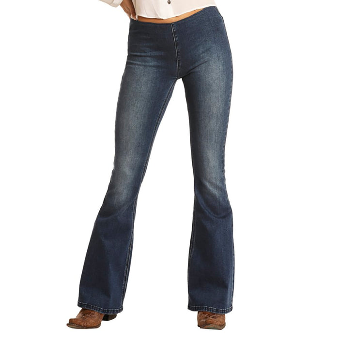 Women's Rock N Roll Cowgirl Medium Wash Mid Rise Pull-On Flares