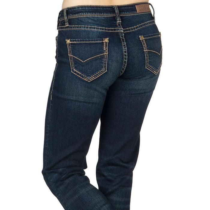 Rock & Roll Cowgirl Riding Extra Stretch Dark Wash Jeans