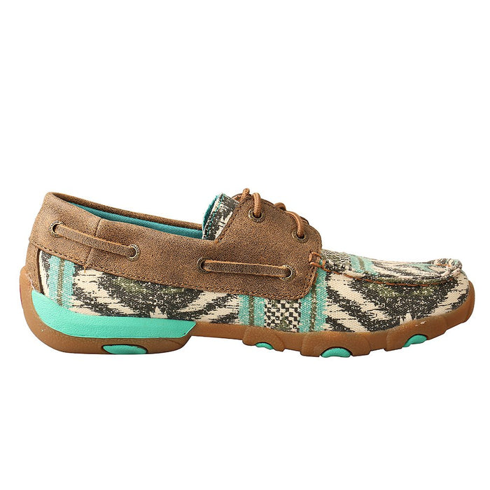 Womens Twisted X Turquoise Bomber Boat Shoe Driving Moc