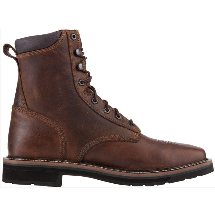 Men's Justin Rugged Tan Steel Toe Lace Up Work Boots