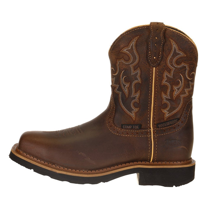 Ladies Justin Jalena Maple Tan 8in. Maple Tan Top Water Proof Comp Toe Work Boot