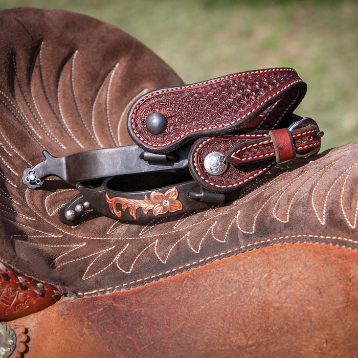 Wildfire Saddlery Mens Rosewood Spider Stamp Cowboy Spur Straps
