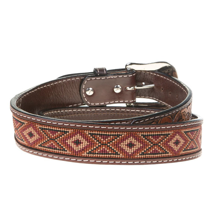 Leather Beaded Earth Tone Twisted X Belt