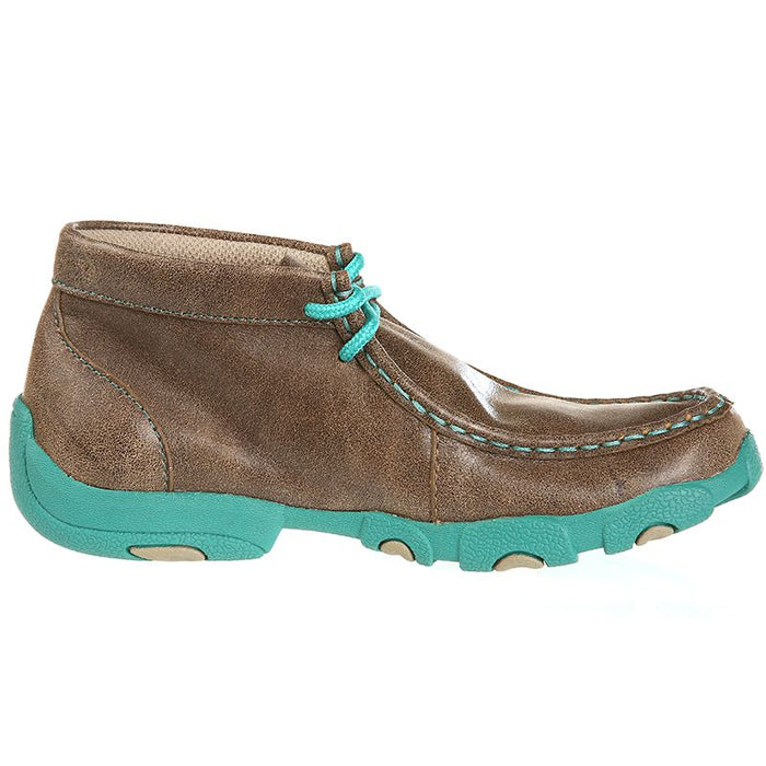 Kid's Twisted X Driving Mocs Brown & Turquoise Shoes