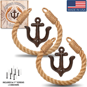Twenty Four Ten Home Gear Nautical Bathroom Decor, Rope Toilet Paper Holder 2 Pack. Beach Themed Decor secures Toilet Paper, Towel or Shower Curtains with Decorative Anchor Wall Mount, USA Made