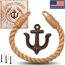Load image into Gallery viewer, Twenty Four Ten Home Gear Nautical Bathroom Decor, Rope Toilet Paper Holder. Beach Themed Decor secures Toilet Paper, Towel or Shower Curtains with Decorative Anchor Wall Mount, USA Made