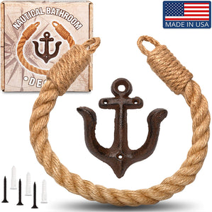 Twenty Four Ten Home Gear Nautical Bathroom Decor, Rope Toilet Paper Holder. Beach Themed Decor secures Toilet Paper, Towel or Shower Curtains with Decorative Anchor Wall Mount, USA Made