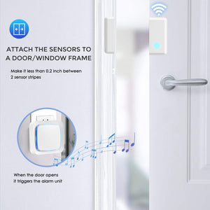 White & 2 Receivers and 4 Sensor Buttons | Door Sensor | Coolqiya