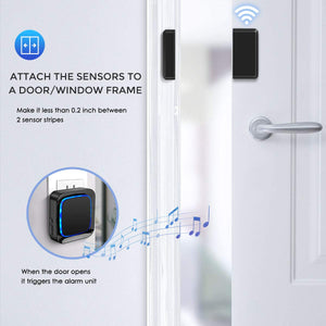 Coolqiya Door Sensor Black | 2 Receivers and 4 Door Sensors