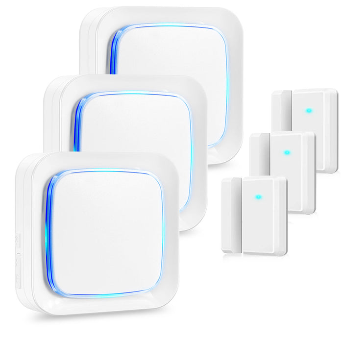 Coolqiya Door Sensor White, 3 Receivers and 3 Door Sensors