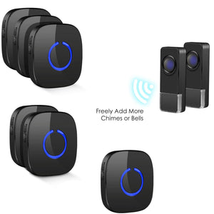 Remote 2 Bell Buttons & 2 Chimes Blcak Model C | Wireless Doorbells | Coolqiya